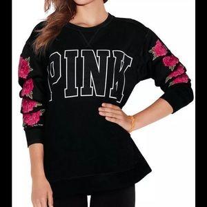 Tops - Victoria's S PINK BLACK TOP SWEATSHIRT PULLOVER
